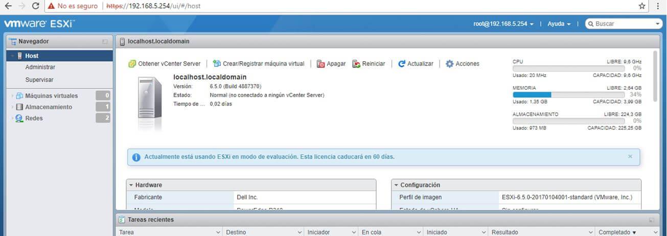 Panel control web VMWare