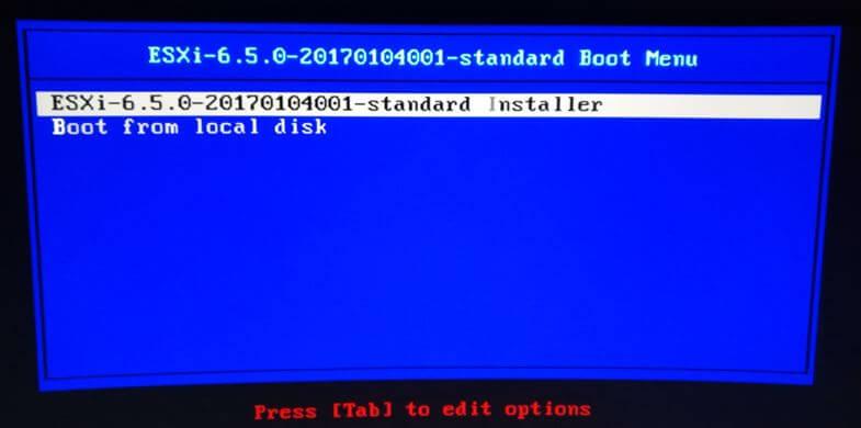 pantalla inicio arranque vmware 6 5 0