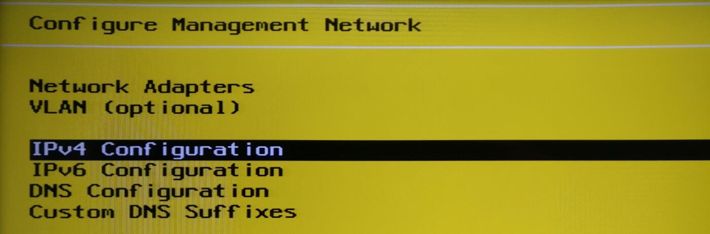 Selección para configuración IPv4 VMWare