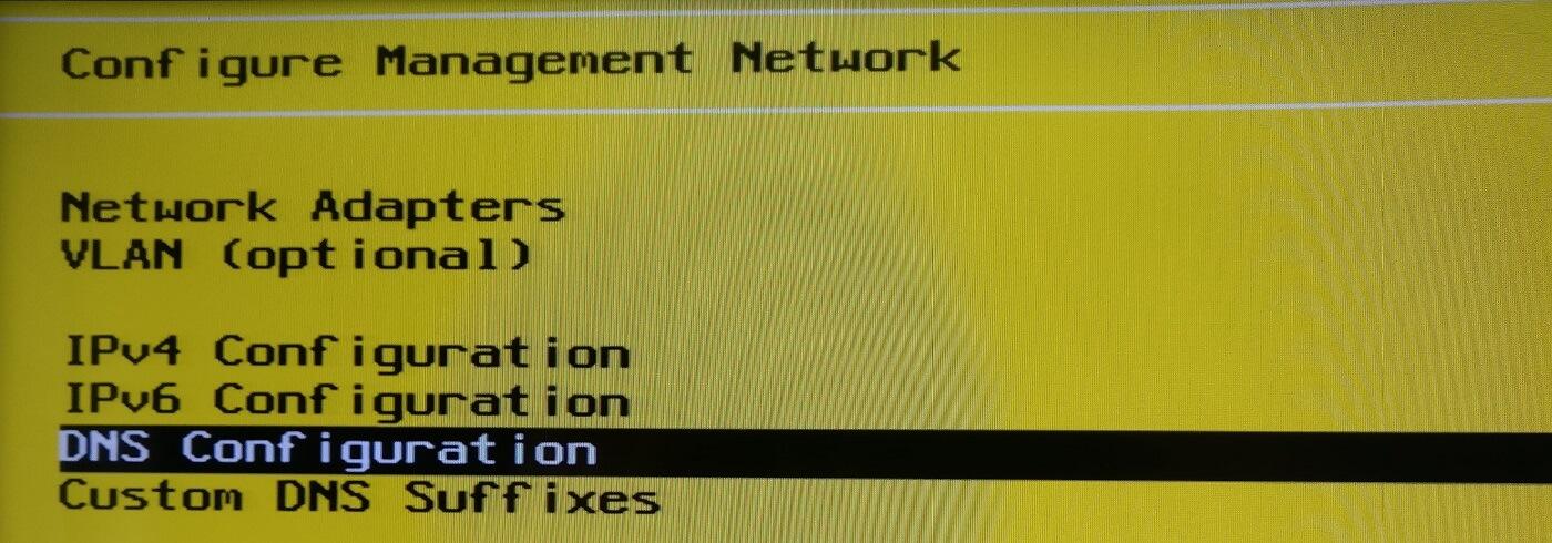 Selección para DNS estático en VMWare