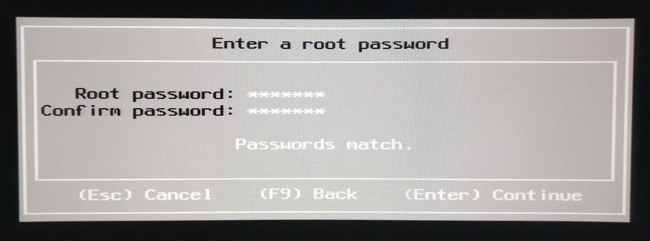 seleccion password para root