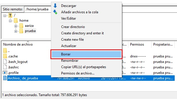 eliminar archivo enviado a directorio prueba ftp