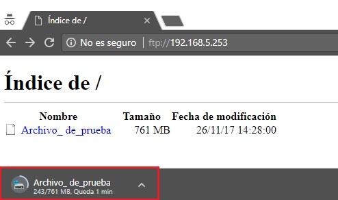 proceso de descarga de archivo enviado a directorio prueba ftp via web
