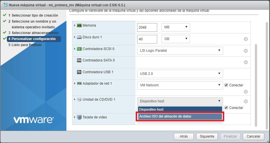 Archivo ISO del almacén de datos VMWare