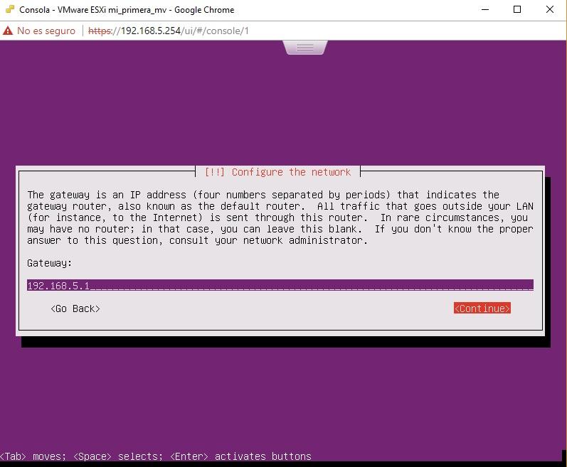 Asignación de gateway para Ubuntu Server en VMWare