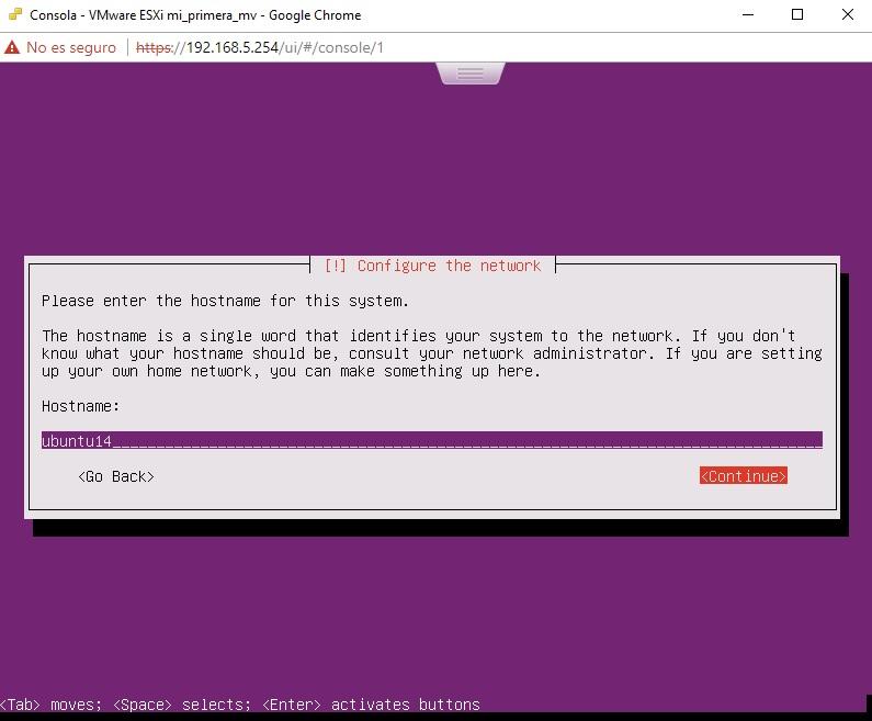 Asignación de hostname para Ubuntu Server en VMWare