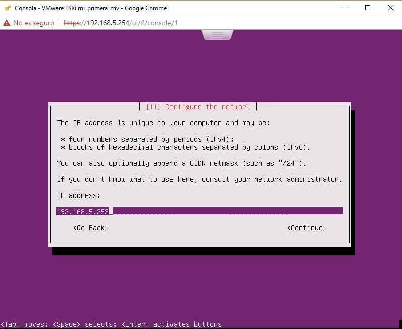 Asignación de IP para Ubuntu Server en VMWare