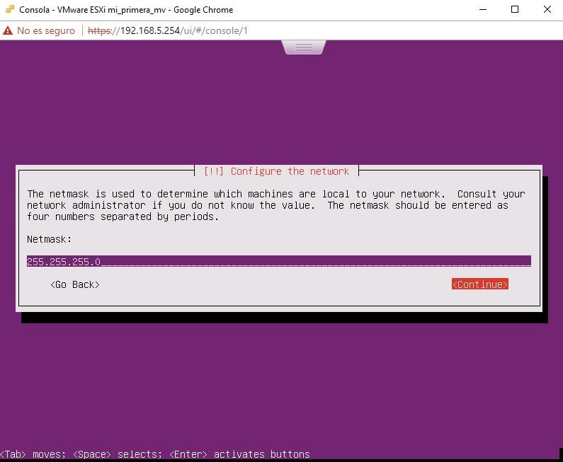 Asignación de mascara para Ubuntu Server en VMWare
