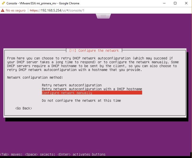 Configuración manual IP para Ubuntu Server en VMWare