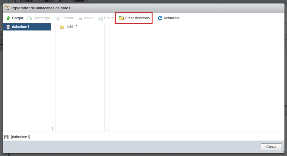 Crear directorio en datastore