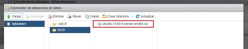 ISO cargada en datastore