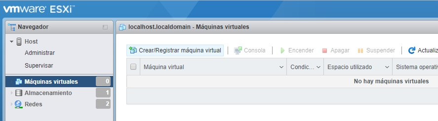 Menú crear registrar máquina virtual VMWare