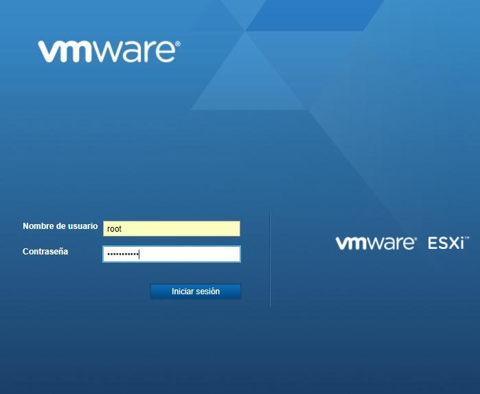 Pantalla acceso principal web VMWare