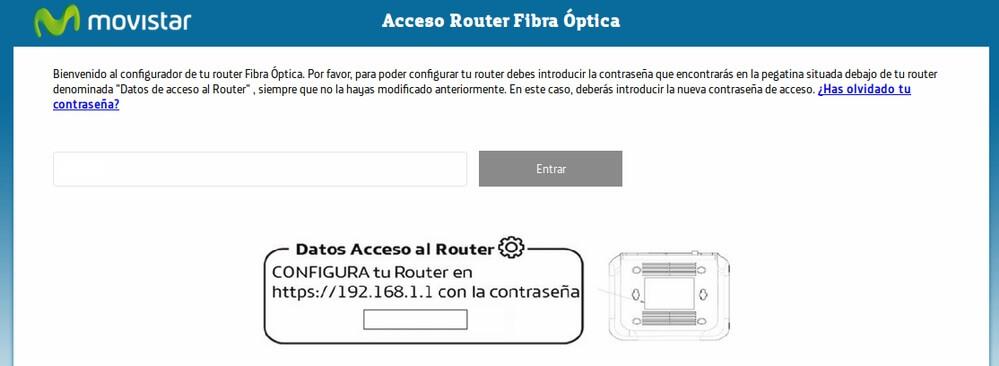 Pantalla inicial de acceso al router