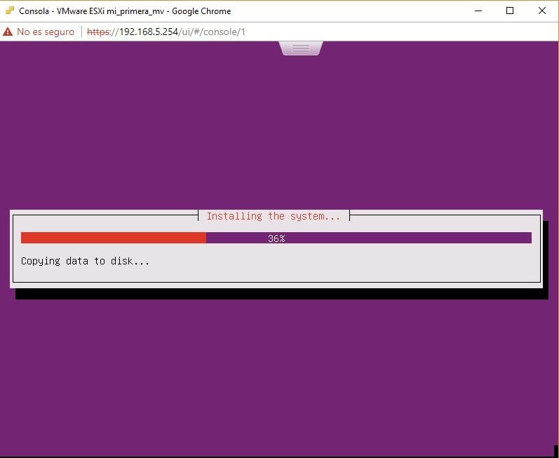 Proceso de instalación de Ubuntu Server en VMWare