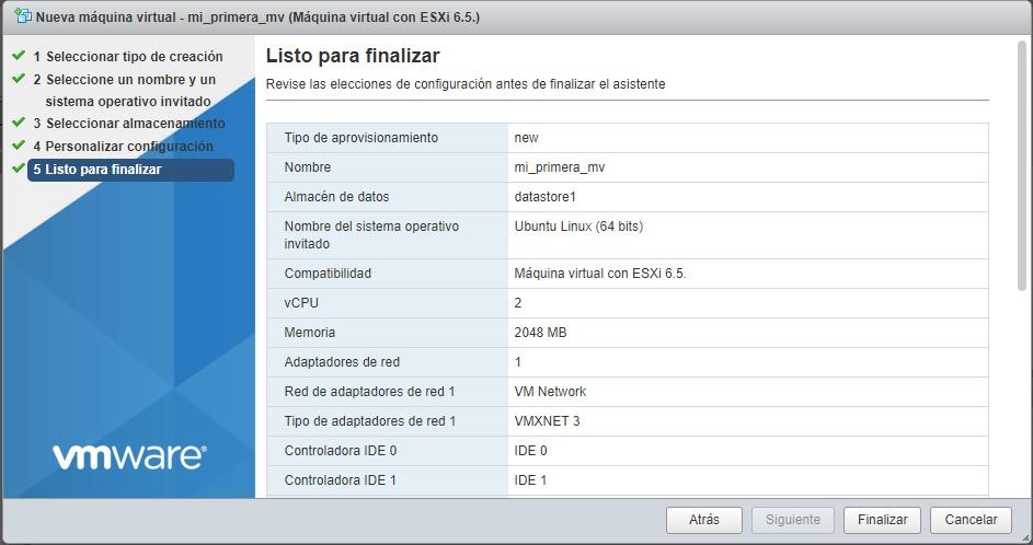 Resumen de opciones en máquina virtual VMWare