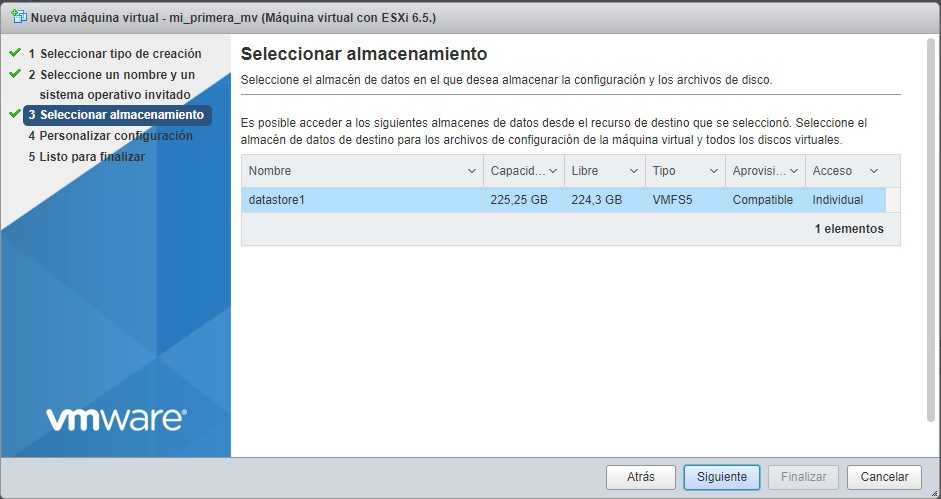 Selección almacenamiento VMWare
