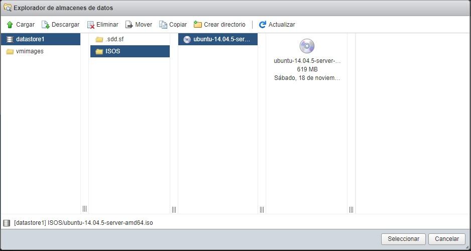 Selección de ISO en almacén de datos VMWare