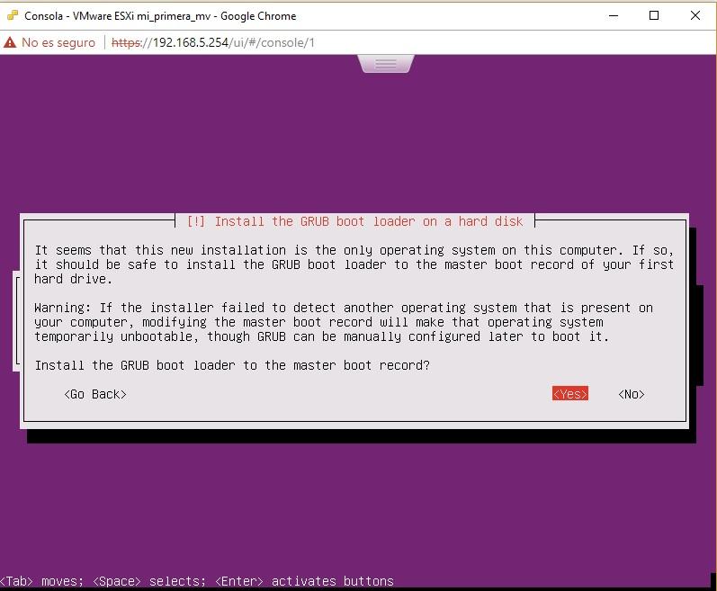 Selección GRUB en Ubuntu Server en VMWare