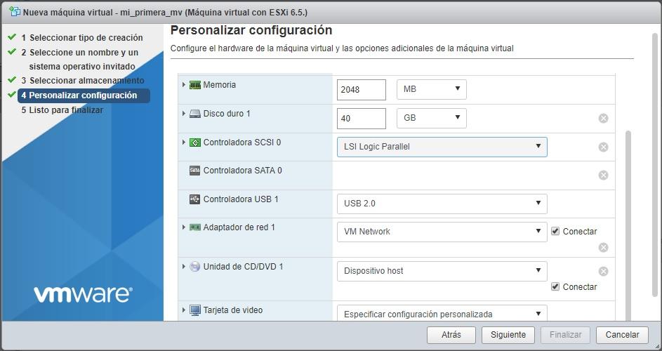 Selección personalizada de configuración VMWare