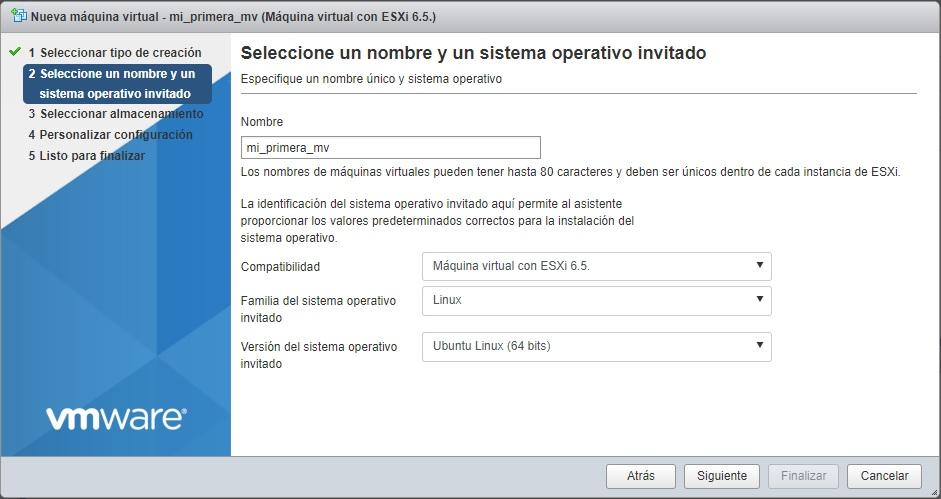 Selección sistema operativo maquina virtual VMWare