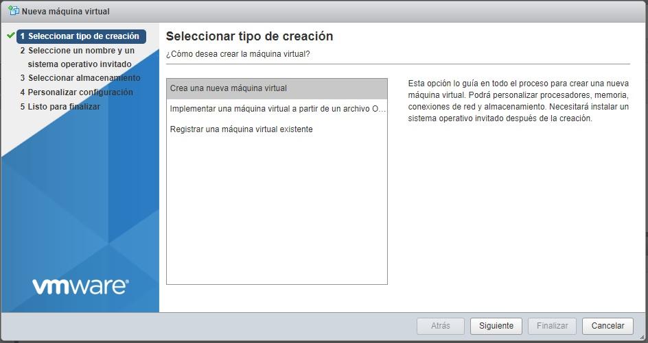 Selección tipo máquina virtual VMWare