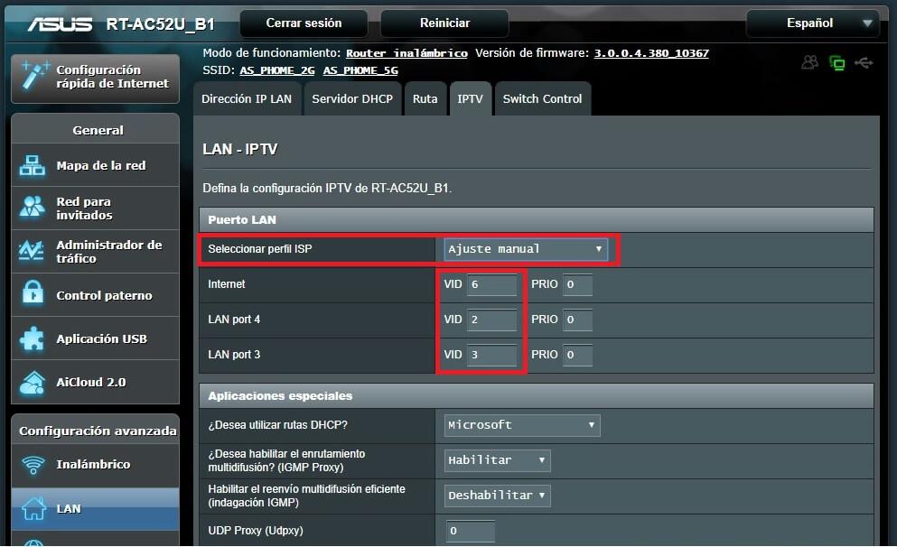 Ajuste Manual para IPTV