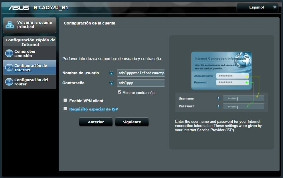 Configuración de cuenta ppp