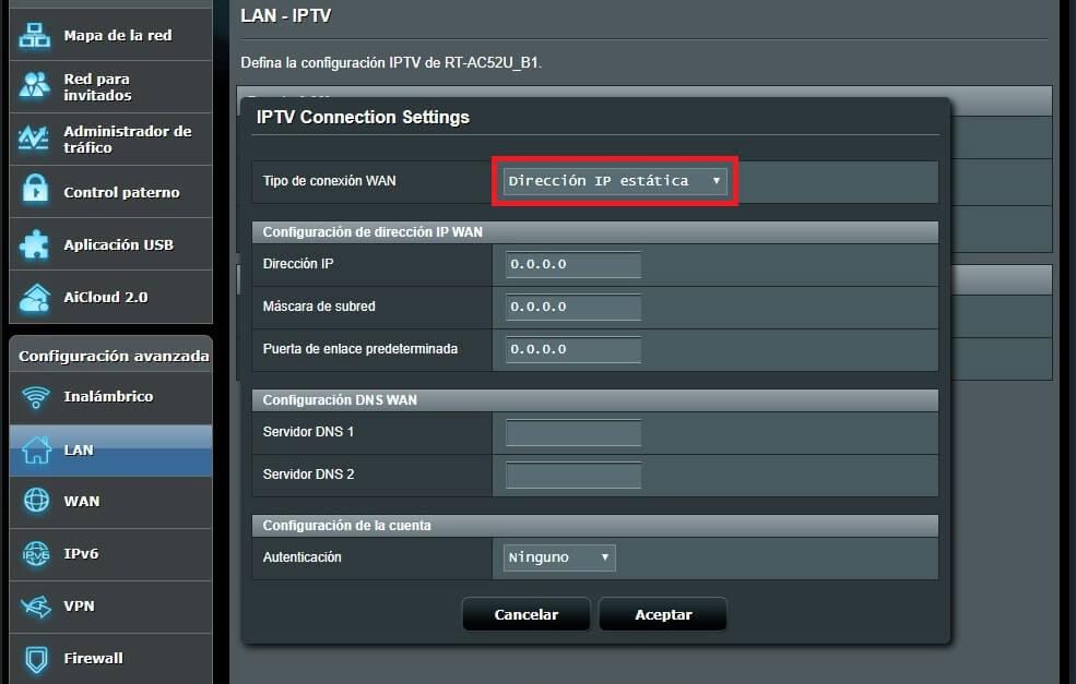 Configuración de IP estática para la conexión IPTV de Movistar
