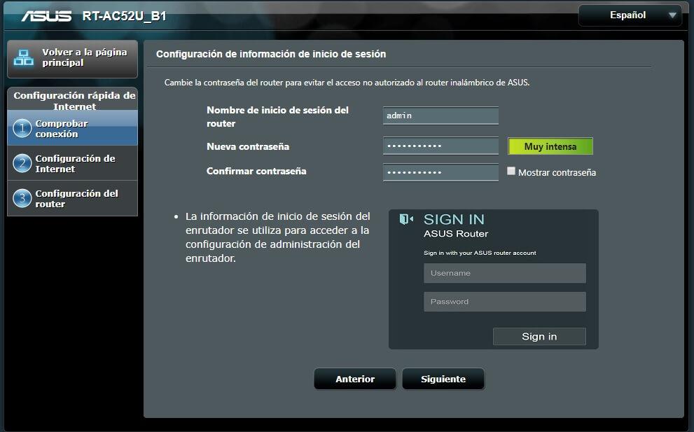Configuración de usuario y password