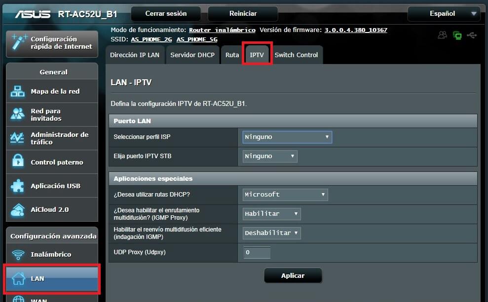 Menú LAN IPTV