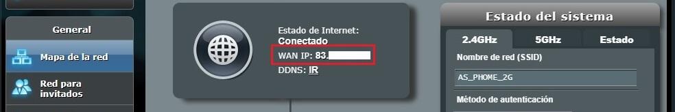 Menú principal con IP WAN de Movistar