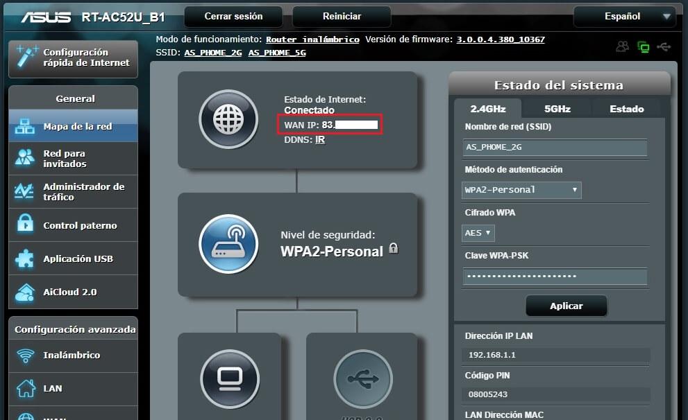 Menú principal con IP de WAN de Movistar