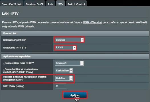 Opciones para configuración de TV en HGU