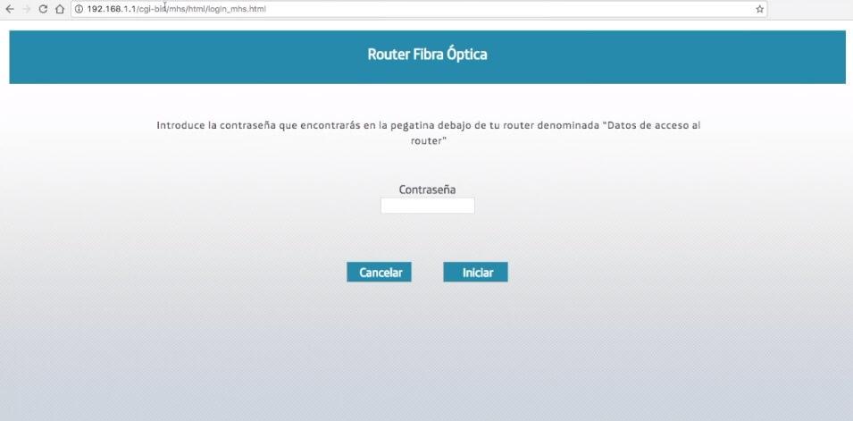 Pantalla de inicio de acceso al router de Movistar