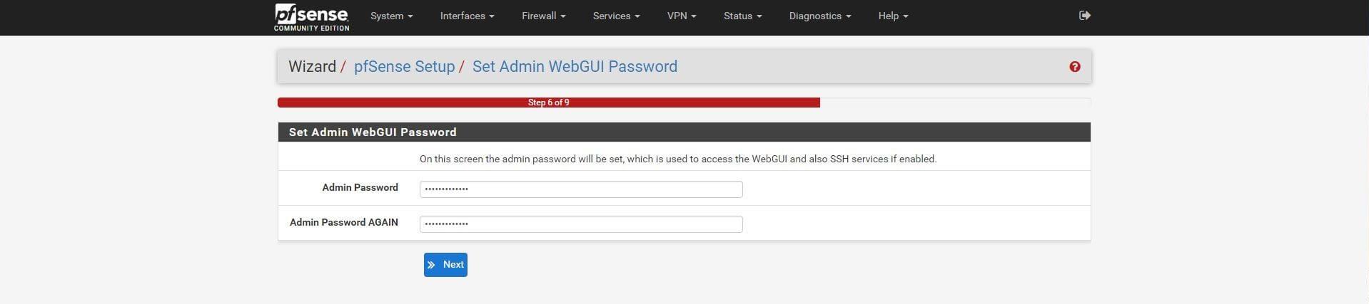Cambio del password de 'admin'