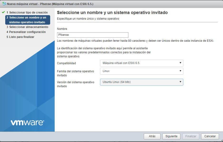 Características Máquina Virtual para Pfsense