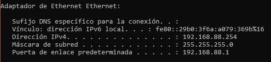 IP asignada por DHCP