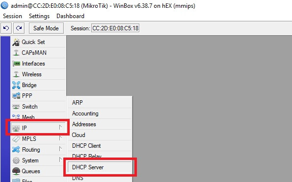 Menú servidor DHCP en Mikrotik