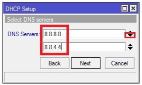 Selección de los DNS para el DHCP