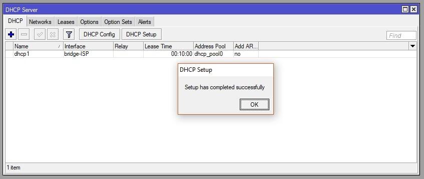 Confirmación de la configuración DHCP