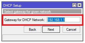 Definir la puerta de enlace para el DHCP