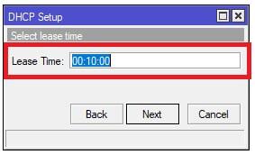 Tiempo de préstamo de las IPs para el DHCP