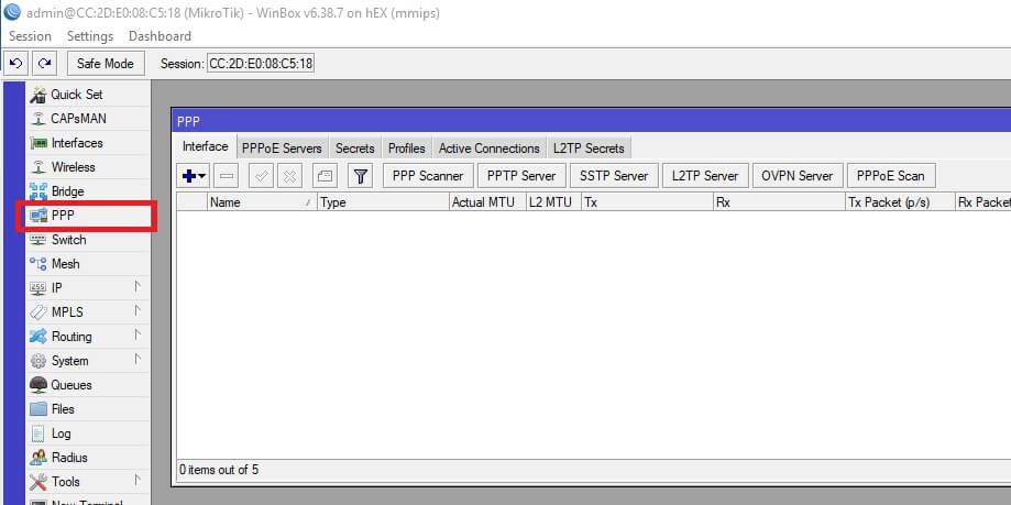 Configuración PPPoE para interfaz WAN