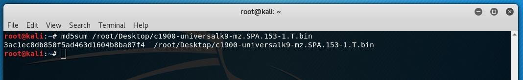 Comando para el cálculo de md5 en Kali Linux