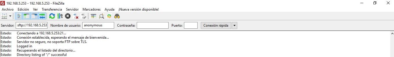 Conexión mediante usuario 'anonymous' establecida correctamente