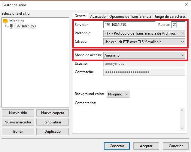 Configuración de Filezilla para usuario 'anonymous'