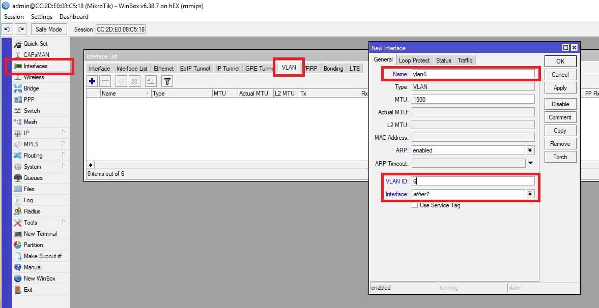 Configuración de VLAN 6 para interfaz WAN