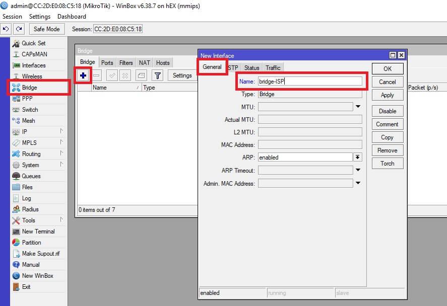 Configuración del interfaz 'bridge'