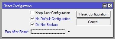 Confirmacion reset de la configuración